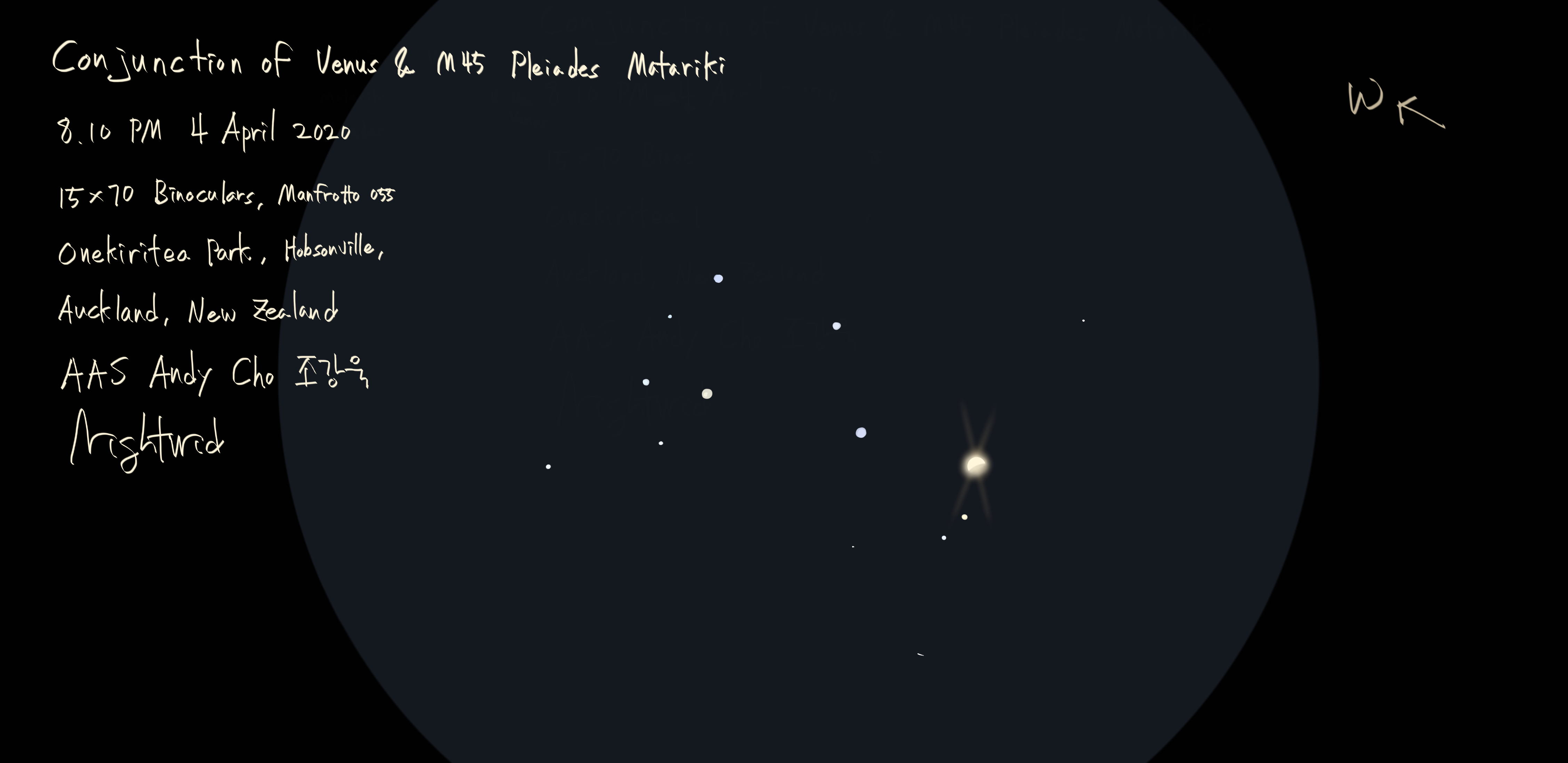 Conjuncton of Venus and M45 4 April 2020.png